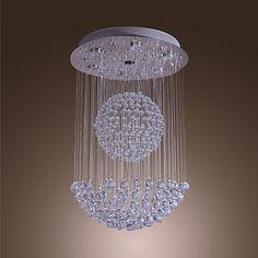 50W Modern Crystal Pendant Light with 7 Lights and Crystal Beaded Globe Decor (GU10 Base) – USD $ 329.99