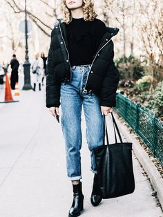Puffer Jacket + Long Sleeve Shirt + High-Waisted Vintage Jeans + Fishnet Tights + Ankle Boots