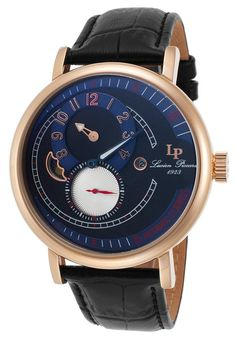 Lucien Piccard Watches Supernova Automatic Black Genuine Leather and Dial Blue Accents 15157-RG-03,    #LucienPiccard,    #15157RG03,    #Dress
