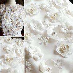 ... making... #weddingdress #flower #fabricflower #romantic #gizadesign