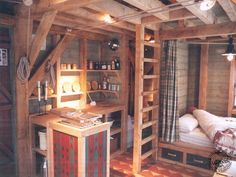 A 288 square feet pegged oak frame cabin with folding sides. Designed by Carpenter Oak.