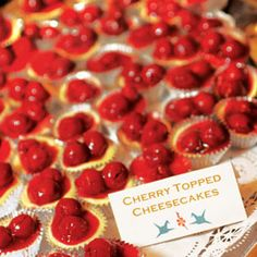 Mini cherry cheesecakes - Late Night Wedding Reception Food - so easy to make... and would go perfect with the glam theme!
