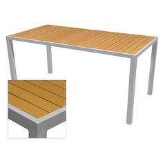 """Source Contract Nevada Dining Table Table Size: 37.5"""" L x 73"""" W, Base Finish: Silver, Top Finish: Teak"""