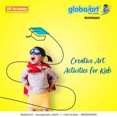 Kids arts and crafts activities, including painting techniques, drawing and efficient art programme that aims to develop the artistic and creative potential of children. Join Globalart Irumpanam now. Limited Seats Only. Call us for more details: 98956 60000 #Globalart #Kochi #Irumpanam #Art #Creativity #Drawing #Imagination Art Activities For Kids, Art For Kids, Art Programs, Kochi, Global Art, Painting Techniques, Creative Art, Imagination, Creativity