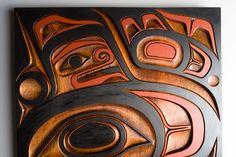 Red cedar and acrylic killer whale panel by salish artist Jim Charlie