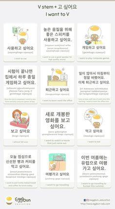 🇰🇷V stem + 고 싶어요 = I want to V Chat to learn Korean with Eggbun! Korean Slang, Korean Phrases, Korean Quotes, Korean Words Learning, Korean Language Learning, Learn A New Language, Learn Basic Korean, How To Speak Korean, Korean English