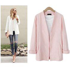 European Style V Neck Linen Blazer/Suit Jacket