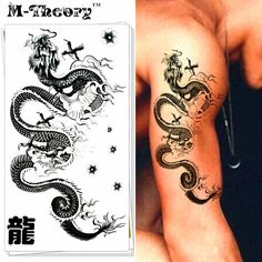 M-theory Chinese Dragon Body Makeup Temporary 3d Tattoos Sticker Henna Tatuagem Flash Tatoos Body Arts Tatto Tatouage Sticker #Affiliate