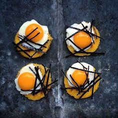 """Fried Polenta """"Cakes"""", Quail Eggs and Nori for Brunch #goodmorning"""