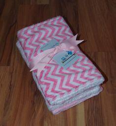 Minky Pink Chevron/ Pink Minky Baby Burp by DarlenesNeedlesnPins