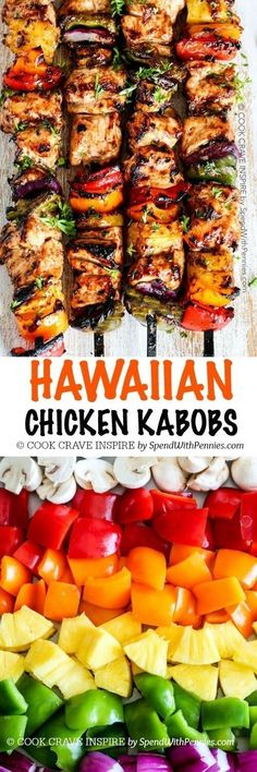 Grilled Hawaiian Chicken Kabobs. Tender juicy chicken layered with a rainbow of veggies in a tangy Pineapple Honey BBQ Sauce. The perfect quick easy summer meal! #chickengrill
