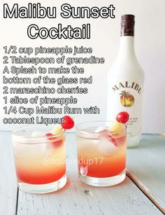 Malibu rum sunset cocktail – Food for Healty Malibu Cocktails, Cocktail Drinks, Drinks With Malibu Rum, Malibu Sunset Cocktail Recipe, Drinks With Coconut Rum, Cocktail Mix, Mixed Drinks Alcohol, Alcohol Drink Recipes, Easy Mixed Drinks