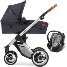 Mutsy Evo Urban Nomad Set Buggy Ledergriff + Babywanne + Cybex Aton 4 silver blue dust blau