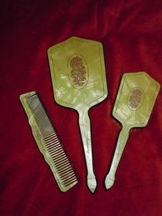 Vintage 60's Green Vanity Dresser Set Hand Mirror- Brush-Comb by Dupont.