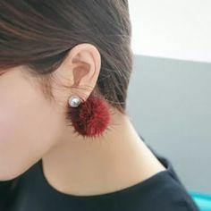 Pompom pearl red earrings ear stud New Jewelry Earrings