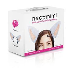Necomimi is the world's first brain-controlled feline-inspired headgear that uses forehead muscles to control the movement of a pair of cat ears. After a brief calibration period, the battery-operated, skull-mounted stuffed animal/fashion statement perk up, flatten, or flutter a pair of furry ears while picking up subtle movement from the head.