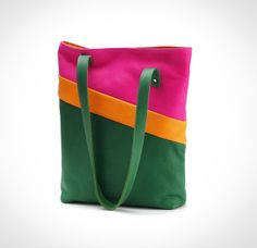 Leder Shopper mit Innenfach und Verschluß, grün, pink, orange // leather bag, green, pink, orange by lilis Tasche via DaWanda.com
