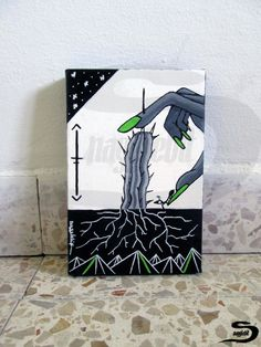 Hand - Original surreal acrylic painting of a hand, cactus with roots, an ant. Black and white, with grey and lime green. A small artwork, wall home art…