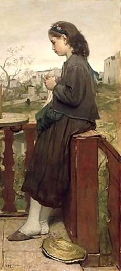 Jacob Hericus Maris (1837-899) Dutch   Girl Knitting on the Balcony, Montmartre