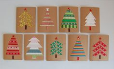 DIY: Weihnachtskarten basteln Crafting with children: You can make colorful Christmas cards with your children from fabric leftovers and send others a treat. Christmas Card Crafts, Homemade Christmas Cards, Christmas Cards To Make, Diy Christmas Tree, Xmas Cards, Kids Christmas, Homemade Cards, Handmade Christmas, Christmas Decorations
