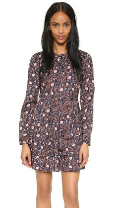 Wayf Tie Front Pleated Dress - Navy Floral