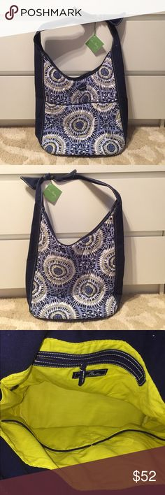 NWT! Vera Bradley Shoulder Bag Vera Bradley NEW w/ tags shoulder bag w/ tie detail on strap...oval bottom and bright yellow interior...really cute pattern, nice and casual bag for everyday use! 🚫NO TRADES🚫 Vera Bradley Bags Shoulder Bags