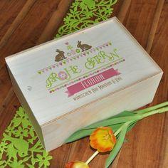Bedruckte Holzbox als Geschenk-Verpackung zu Ostern