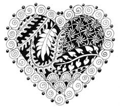 Heart xample of Zentangle 3 with Rubber Stamps by Suzanne McNeill Expanded Workshop Edition Tangle Doodle, Tangle Art, Doodles Zentangles, Zen Doodle, Doodle Art, Heart Doodle, Doodle Patterns, Zentangle Patterns, Doodle Drawings