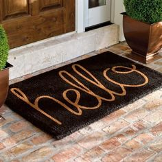 """DECOR FOR THE FRONT PORCH. Our """"Hello"""" Coco Mat extends a proper greeting to everyone who arrives on your threshold. Our """"Hello"""" Coco Mat extends a proper greeting to everyone who arrives on your threshold. Entry Mats, Front Door Mats, Front Door Decor, Front Porch, Cute Door Mats, Entrance Mats, Front Doors, Apartment Door, Apartment Living"""