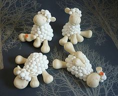 Sheep wedding cake toppers - Girls   by The Designer Cake Company