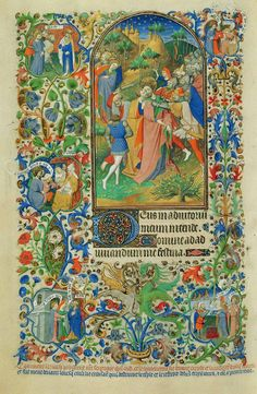 Page from Bedford Hours illustrating the Hours of the Passion (Office of Lauds). The principal image depicts Christ's betrayal by Judas in the Garden of Gethsemane, and his arrest.