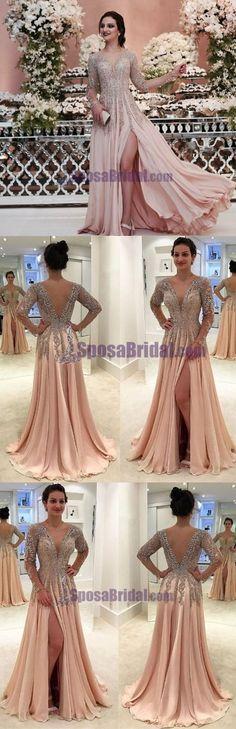 2018 Deep V Back Most Popular Beaded Long Sleeves Split Fashion Modest Prom Dresses, Party dresses, PD0626