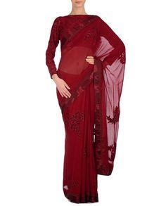 Dark Red designer saree with maroon applique work