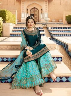 Blue Embroidered Sharara Suit in Crepe.Blue Embroidered Sharara Suit in Crepe for indian partywear Pakistani Dresses Casual, Eid Dresses, Indian Gowns Dresses, Indian Fashion Dresses, Pakistani Dress Design, Special Dresses, Indian Designer Outfits, Indian Outfits, Walima Dress