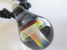 Hand blown glass mushroom pendant on handmade black hemp twist hand blown glass mushroom pendant on handmade black hemp twist necklace funky fungus necklace heady mushroom pendant ooak glass pendant mozeypictures Images