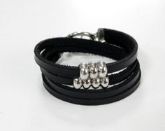 Leather Bracelet Wrap Bracelet Leather Cuff Black Color with Metal Beads Toggle Clasp