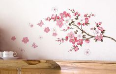 """Wall Sticker, DDLBiz® Adesivi Murales, Carta da Pareti """"Fiore Rosa Farfalla"""" Decorazione Murali da Parete: Amazon.it: Casa e cucina"""