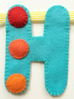 'H' of spotty 'Happy Birthday' hand sewn banner