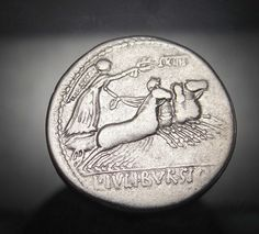 APOLLO and ship Prow. Exceptional Roman republic Silver coin. IULIUS BURSIO. Roman Republic, Coin Art, World Coins, Ancient Romans, Artemis, Silver Coins, Seals, Apollo, Medieval