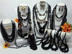 LARGE FASHION JEWELRY LOT - MOSTLY BLACK AND SILVER TONE