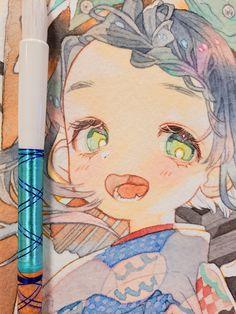 Kunst Inspo, Art Inspo, Pretty Art, Cute Art, Art And Illustration, Manga Watercolor, Wow Art, Anime Sketch, Kawaii Art