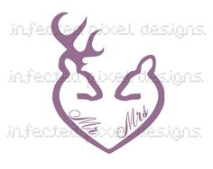 Buck and Doe Tattoo Designs | Doe and Buck Mr. and Mrs. Heart Decal - Your Choice of Color on Wanelo