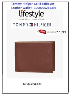 #Tommy #Hilfiger #Solid #Foldover #Leather #Wallet - #1000005268392  #Style : Casual #Price: ₹1,749.00 #Material : Leather #No of Pockets : 2