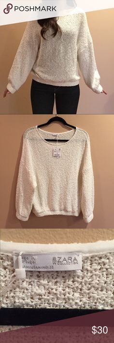 "❗️SALE❗️Zara white sweater Brand new Zara sweater. 90% cotton 10% polyester. Model 5'2"" 115lbs Zara Sweaters Crew & Scoop Necks"