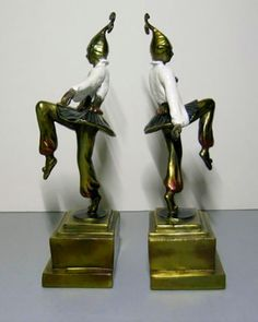 For the love of Books...Art Deco Pompeian Bronze Company Dancing Girl Jester Bookends, 1920's.
