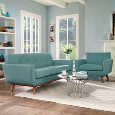 Modway Engage Armchair and Loveseat Set of 2 in Laguna Living Room Sofa, Living Room Furniture, Home Furniture, Living Room Decor, Outdoor Furniture, Condo Living, Furniture Ideas, Cheap Living Room Sets, Painting Wooden Furniture