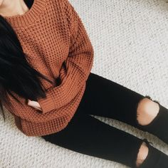 gorgeous sweater back to some ripped black skinny jeans. comfy weekend casual