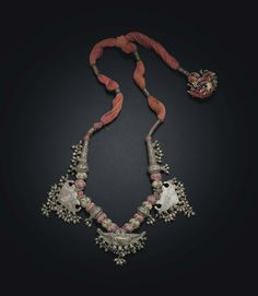 A silver amulet necklace. India, Rajasthan, Bikaner, 20th century