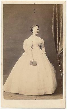Antique Victorian CDV Photo Fashion Gown Pretty Lady Civil War Era Crinoline | eBay