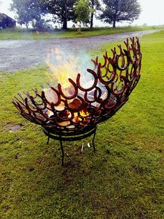 Reclaimed horse shoe fire pit